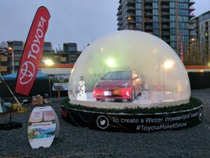 Toyota car in snow globe Christmas display